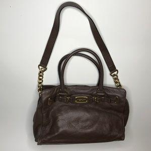 Michael Kors Hamilton Satchel Brown Leather